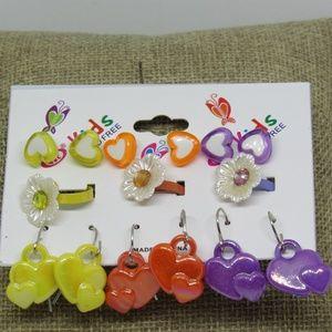 Kids Flower Heart Earring Adjustable Ring Fashion